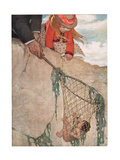 Tom Entangled in the Fishing Net  Illustration from 'The Water Babies' by the Reverend Charles…