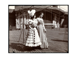 Two Actresses in Costume Rehearsing on the Roof of What Is Probably the New York Theatre  New…