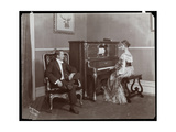 Man and Woman Playing a Player Piano  New York  1907