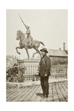 Rudyard Kipling Standing in Front of a Statue of Joan of Arc in Reims  France  During the First…