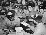 Members of the Chinese People's Liberation Army Distributing Communist Literature in Shanghai  1959