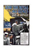 'Join the Royal Marines - Help to Man the Guns of the Fleet'  World War I Recruitment Poster