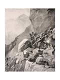 Italian Troops Levering Boulders Down onto Enemy Soldiers in the Dolomities  1915  from 'The War…