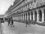 Grand Hotels Decked with Allied Flags  Rue de Rivoli  Paris  1914