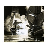 John Paul Jones' Ship - a Blazing Wreck
