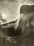 Mist Rises as El Capitan Towers 3 600 Feet Above the Merced River  Yosemite National Park …