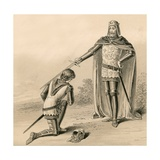 Prince Edward  the Black Prince  Being Knighted by His Father  King Edward III