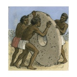 Natives on a South Pacific Island Using Large Stone Disks as Money