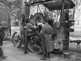British Soldier Shaving on a Wallis and Steevens Steam Tractor and French Soldier on Watch  1914