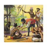 Magellan's Men Meeting Friendly Natives in the Philippines and Trading for Food