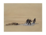 Sledge Hauling on Ski A Grey Day on the Great Ice Barrier  1903