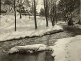 A Fast Moving Stream Meanders Through a Snow Covered Woodland  USA  1916
