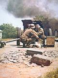 WW2 German Anti-Tank Gun  Panzerjaeger  in Action