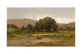 Cows Resting at the Meadow Brook  1900