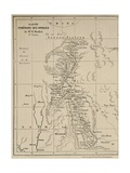 Map of Laos and the Mekong River Showing the Route of the Voyage of Henri Mouhot  Illustration…