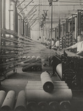 Workers Watching the Process of Assembling Warp Threads on Looms  Massachusetts  1920