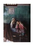 Women and Girl Sit Below a Tile That References God in Arabic  Brusa  Turkey  1925