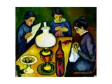 Three Women at the Table by the Lamp  1912