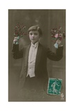 Postcard of a Boy in White Tie and Tails Holding Flowers and Berries  Sent in 1913