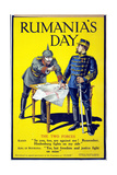 'Rumania's Day'  Poster Showing the Kaiser and the King of Romania Arguing While Examining a Map …