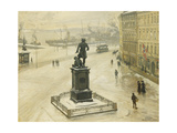 The Statue of Tordenskiold Facing Piperviken  Oslo Harbour  1906