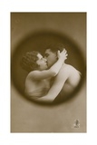 Young Man and Woman Kissing as Viewed Through a Peephole Postcard Sent in 1913