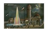 Duren  Leuchtfontaine  Abendstimmung Am Colnplatz Postcard Sent on 20 March 1913