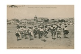 Donkey Rides on the Beach at Les Sables-d'Olonne in Western France Postcard Sent in 1913
