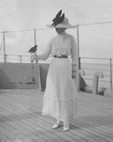 Mrs Fitzroy with a Bird Given to Her by a Maharaja  on Board the P&O SS Malwa  February 1912