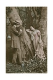 Postcard of Lovers Carving a Heart on a Tree  Sent in 1913