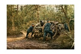 Three French Soldiers in the Woods with a Howitzer  Verdun  September 1916