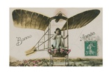 New Year Greeting Card of a Girl in an Aeroplane  1913