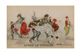 Apres La Victoire  Political Cartoon About the Balkans Postcard Sent on 14 June 1913