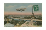 Aeroplane Circling around the Eiffel Tower in Paris  France Postcard Sent in 1913