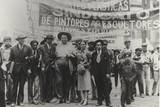 Diego Rivera and Frida Kahlo in the May Day Parade  Mexico City  1st May 1929