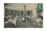 Dining Room of the Grand Hotel d'Angleterre  Huelgoat  Brittany Postcard Sent in 1913