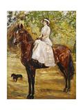 Woman in White Riding a Horse; Dame Im Weissen Reitkleid Zu Pferde  1910
