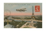 Postcard of an Aeroplane Circling around the Eiffel Tower  Sent in 1913