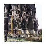 The Damaged Cathedral of Reims During the Battle of the Marne East of Paris  September 1914