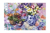 Daffodils  Tulips and Iris in a Jacobean Blue and White Jug with Sanderson Fabric and Primroses …