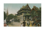 Chinese-Style Building Postcard Sent in 1913