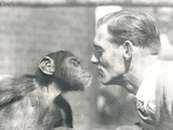Booboo the Chimpanzee and John Shelly at ZSL London Zoo  September 1927