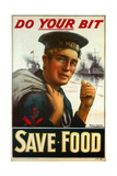 "WW1 Poster Urging You to ""Do Your Bit - Save Food"" 1917"