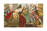 King Saul Throwing a Javelin at David