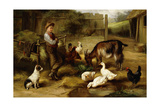 A Boy with Poultry and a Goat in a Farmyard  1903
