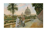 Pope Pius X in the Gardens of the Vatican  Rome Postcard Sent in 1913