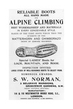 Advertisement for S W Norman Alpine Climbing Boots  Illustration from 'Whymper's Guides…