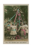 Postcard of Children Standing around a Maypole  Sent in 1913