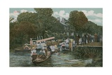 Goring - Boating on the River Postcard Sent in 1913