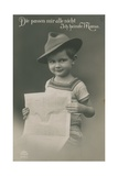 Postcard of a German Boy  Reading Newspaper  1913
